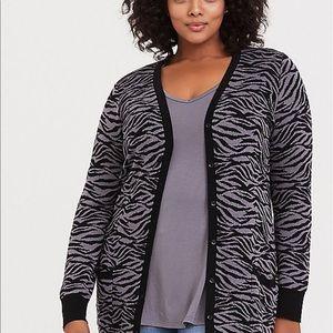 Nwt Torrid size 2 Zebra Button Front Cardigan